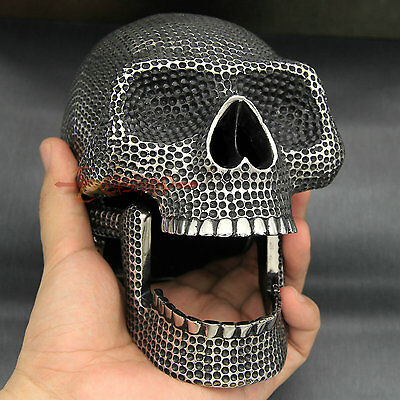 Huge & Heavy Stainless Steel Skull Figurine Head Statue Home Decor Movable Jaw