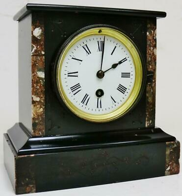 Antique French 8 Day Engraved Slate & Colour Marble Timepiece Mantel Clock
