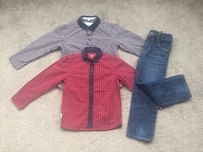 Gap Age 4 Boys Jeans And Next Junior J Checked Shirts Outfit Bundle