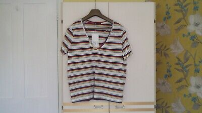 ZARA : WHITE, BLUE, RED, YELLOW & BLACK HOOPED SHORTSLEEVED TOP. Size LARGE. NWT