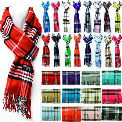 For Womens Mens Winter 100% Cashmere Plaid Scarf Scotland Made Scarves Wool Wrap