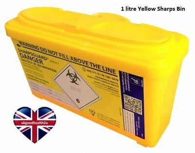 Daniels SHARPSGUARD® Yellow 1 litre Sharps Bin Container Safe Needle Disposal