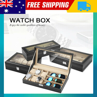6-24 Grids Watch Display Case PU Leather Jewelry Storage Box Organize NSW
