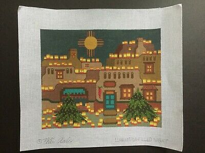 """Peter Ashe Hand-painted Needlepoint Canvas Colorful """"Luminaria-Filled Night"""""""