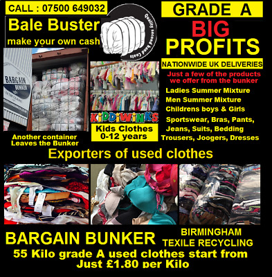 Complete range of 55 kilo bales of Grade A used clothes from our UK factory