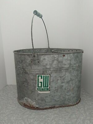 Vintage GW Galvanized Metal Mop Bucket With Ringer and Green Handle