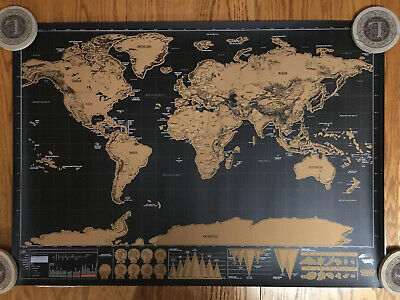 Lot Of 3 - Deluxe Travel Edition Scratch-Off Map 33x23 Poster Alliance Station