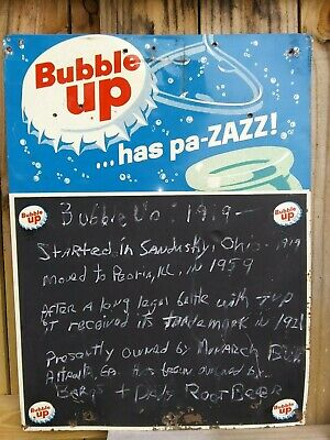 Vintage Original 1950-1960 Bubble Up Soda Advertising Sign Chalkboard Reduced...