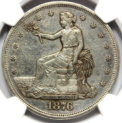 1876 S, T$1, TRADE SILVER DOLLAR,  PCGS AU DETAIL, Cleaned