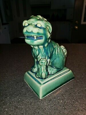 Vtg. Chinese Green Glazed Pottery Foo Dog/Lion Statue w/ Pup