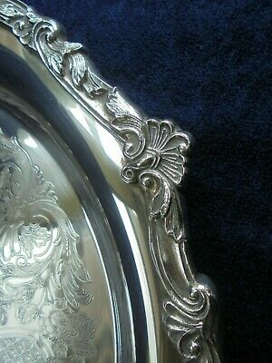 LARGE 35 cm VINTAGE STOKES AUSTRALIAN SILVER PLATE SERVING TRAY LIKE NEW