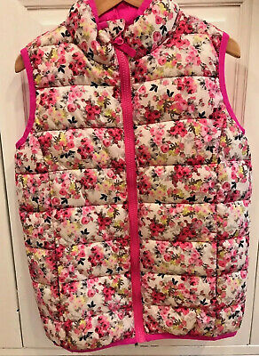 Joules Girls Age 8 Years Gilet Body Warmer Zip Up Floral & Pink Good condition