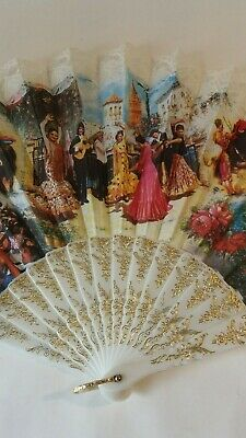 A Spanish kitsch tourist vintage plastic Hand Held Fan