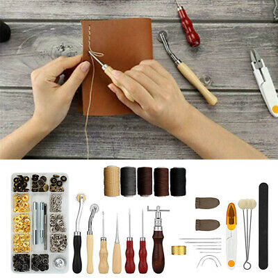 28PCS Leather Craft Sewing Tools Kit Hand Stitching Canvas Carving Punch Kit DIY