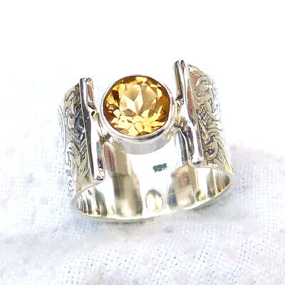 Engraved Ring, 925 Sterling Silver Natural Citrine Ring Faceted Stone Ring-S283
