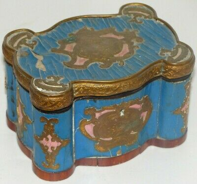 Antique 19th Century French Kingwood / Ormolu Boulle Box / Casket – Blue / Pink