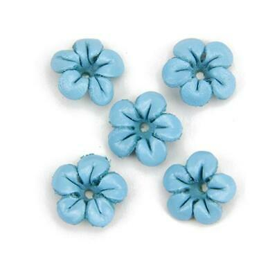 Hobby & Crafting Fun Real Leather Flowers 13mm 5pcs