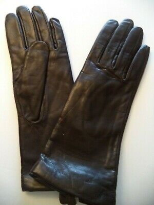 Ladies {Grandoe 100% Cashmere Lined} Leather Gloves*,Medium, Brown