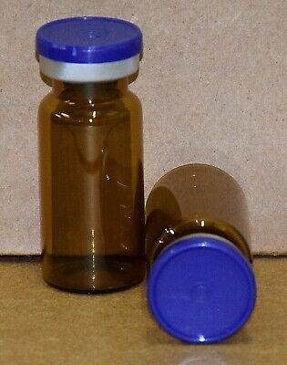 USP 10 mL Amber Sterile Vial With Dark Blue Plain Flip Off Seal ANY QTY