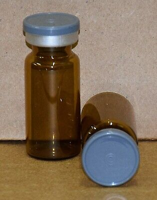 USP 10 mL Amber Sterile Vial With Dark Gray Plain Flip Off Seal ANY QTY