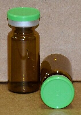 USP 10 mL Amber Sterile Vial With Meadow Green Plain Flip Off Seal ANY QTY