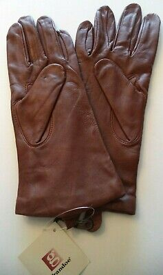 Ladies {Grandoe,100% Cashmere Lined} Leather Gloves*,Russet Brown,Medium