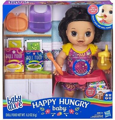 🚛Fast Shipping! {NEW} Baby Alive Happy Hungry Baby Black Hair Eat Drink Potties