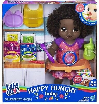 🚛Fast Shipping! {NEW} Baby Alive Happy Hungry Baby Black Curls Eat Drink Potty