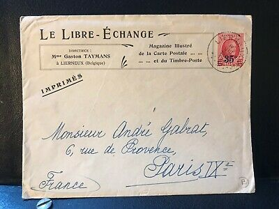1920s Belgium Commercial Postal Cover to Paris - Over Printed Stamp - ref243
