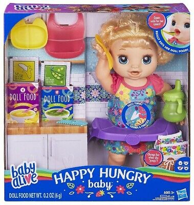 🚛Fast Shipping! {NEW} Baby Alive Happy Hungry Baby Blonde Curls Eat Drink Potty