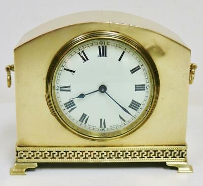 Antique French 8 Day Brass Geometric Pattern Mantel Clock Platform Escapement