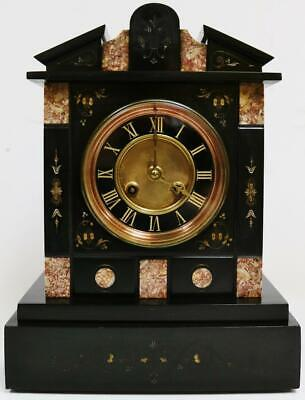 Antique French 8 Day Engraved Slate & Marble Architectural Striking Mantel Clock