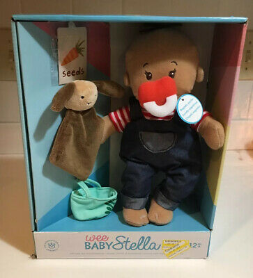 New Manhattan Boy Wee Baby Stella Soft Baby Doll Farmer Magnetic Pacifier New!