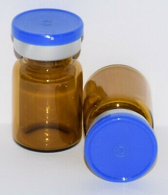 USP 5 mL Amber Sterile Vial With Medium Blue Plain Flip Top Seal ANY QTY