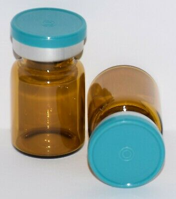 USP 5 mL Amber Sterile Vial With Turquoise Plain Flip Top Seal ANY QTY