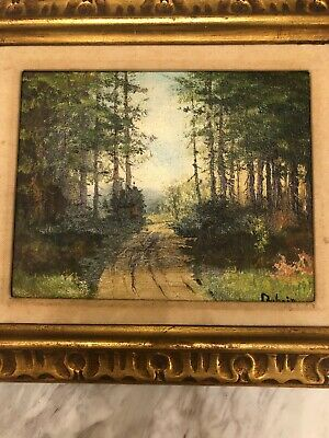 landscape Forest oil paintings on canvas Signed Dubois Mid Century