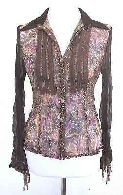 L.O.C.T. Sz M Sheer Crinkle Brown Print Snap Front Blouse