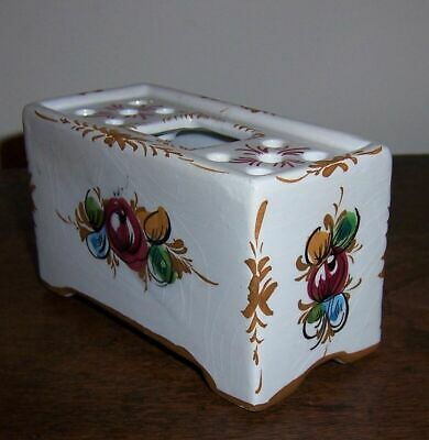 Hand Painted Pottery / Ceramic Flower Vase / Hat Pin Holder - Portugal - Signed