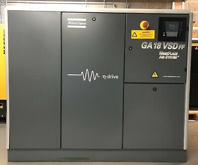 Atlas Copco GA18VSDFF Variable Speed Drive Rotary Screw Compressor With Dryer!