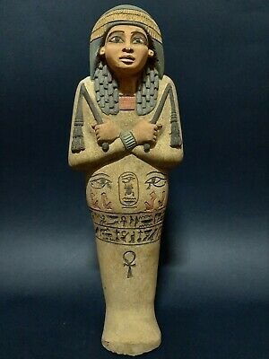 RARE ANCIENT EGYPTIAN ANTIQUES USHABTI SHABTI QUEEN STATUE Figure LUXOR STONE BC
