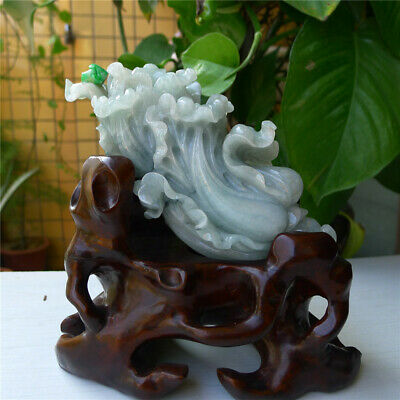 """7"""" 100% Natural Emerald Green Jade Jadeite carved Chinese cabbage statue"""