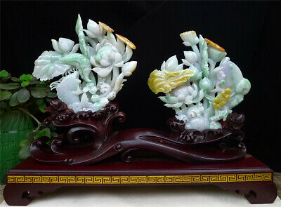 "8"" A pair 100% Natural Emerald Green Jade Jadeite Tri Color carved Lotus statue"