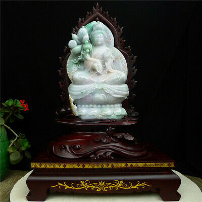 "12"" 100% Natural Emerald Green Jade Jadeite handcarved Lotus guanyin statue"