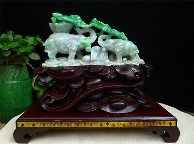 "9"" 100% Natural Emerald Green Jade Jadeite handcarved double Elephant statue"