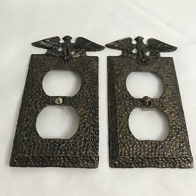 Lot of 2 Edmar 06 Bronze Hammered Metal Outlet Cover Eagle Arrow Leaf Patriotic