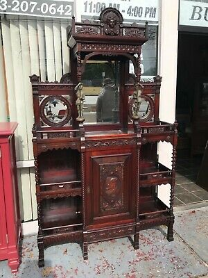 Victorian etegere mahogany 1860-1880 carved faces