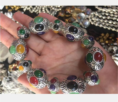 China's exquisite Tibetan silver hand-carved multicolored bracelet