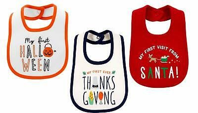 My First Baby Bibs (3 Pack) First Halloween, Thanksgiving, Christmas, Water