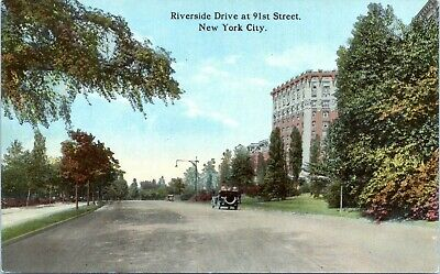 1910 Riverside Drive at 91st Street View Open Top Car NYC Postcard