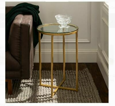 Small Round End Table Glass Chairside Shelf Storage Side